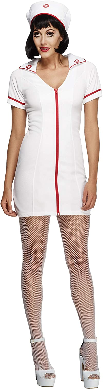 Smiffy's Smiffys-22016M Disfraz Fever de Enfermera, con Vestido y Gorro, Color Ninguna, M-EU Tamaño 40-42 22016M