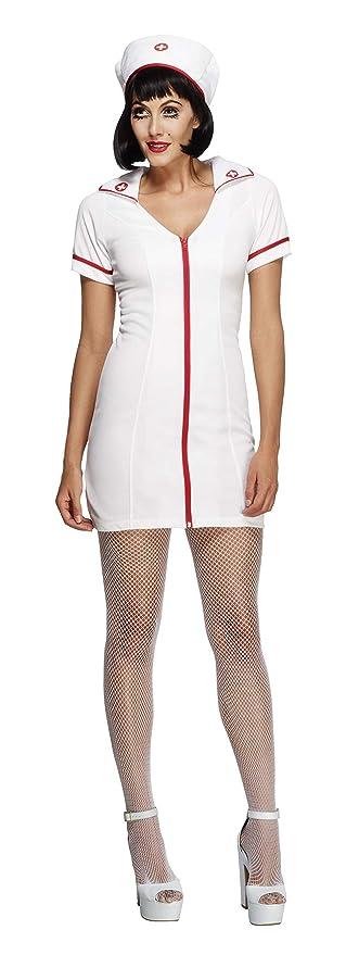 Smiffys Smiffys-22016M Disfraz Fever de Enfermera, con Vestido y Gorro , Color Ninguna, M-EU Tamaño 40-42 22016M