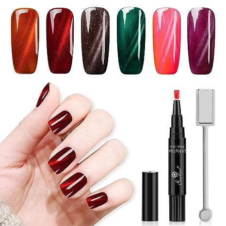 Saviland - Juego de 6 lápices magnéticos de gel para uñas de gato con gel UV para manicura y varilla magnética