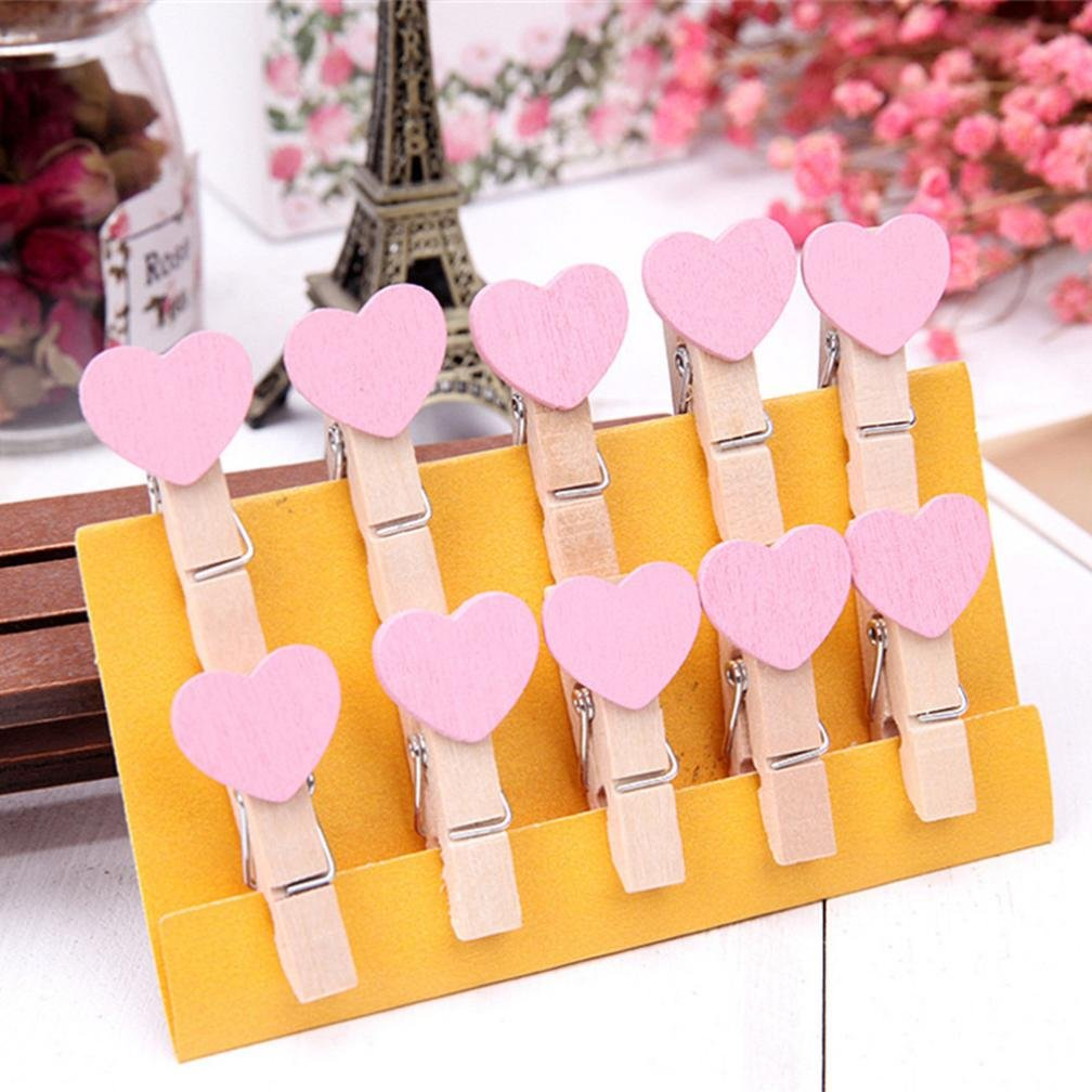 Transer 10 Pcs Wooden Clips DIY Creative Heart Shaped Frame With Mini Colored Wood Clothespins (Pink)