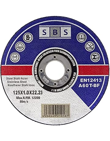 SBS - Disco de corte inoxidable (100 unidades, 125 x 1 mm, flexible