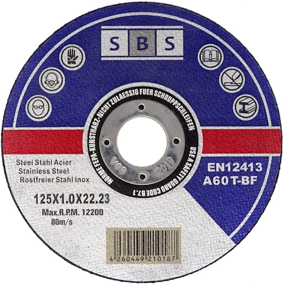 SBS - Disco de corte inoxidable (100 unidades, 125 x 1 mm, flexible)