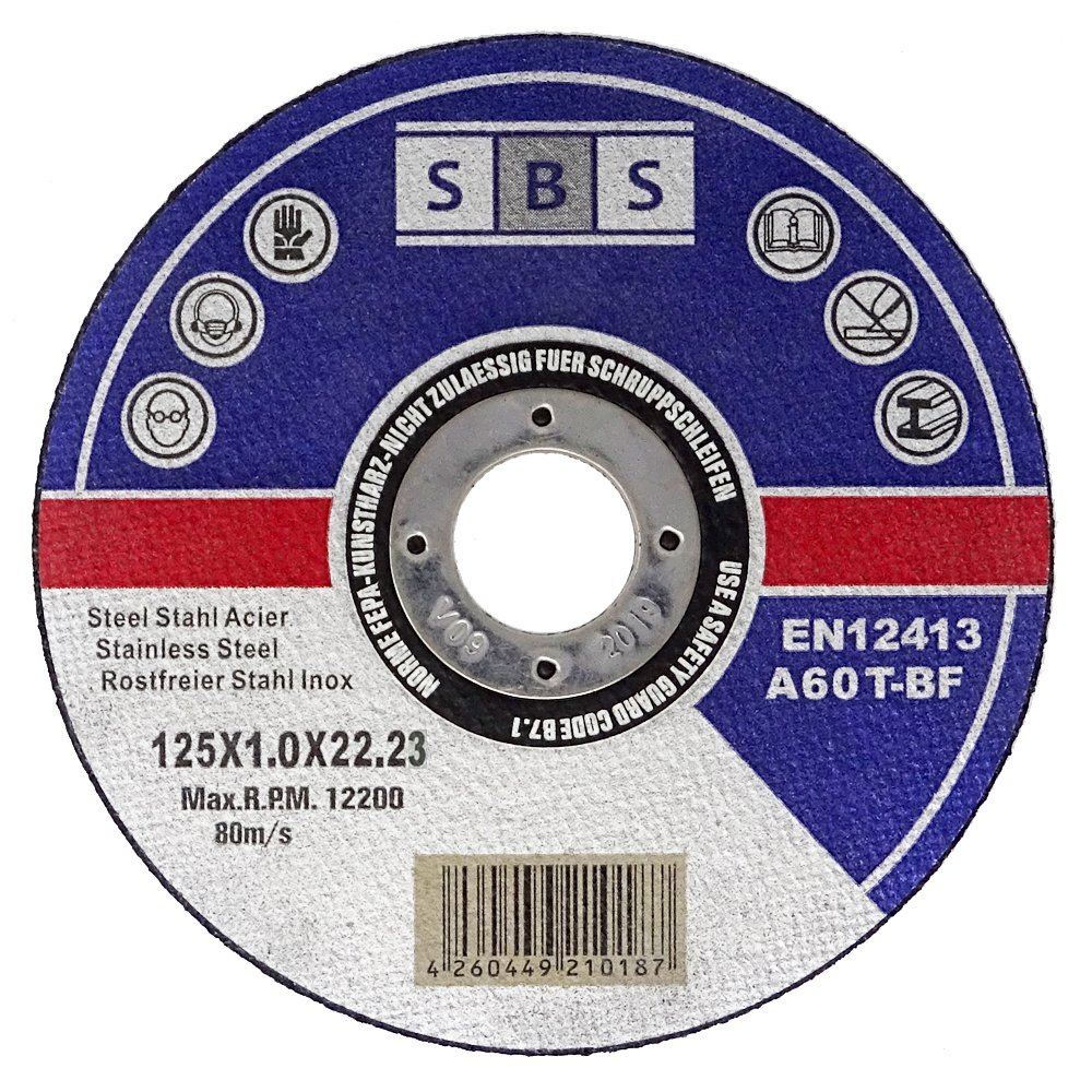 100 x SBS Cutting Discs for Angle Grinders 125 x 1.0 mm Stainless Steel Schlößer Baustoffe