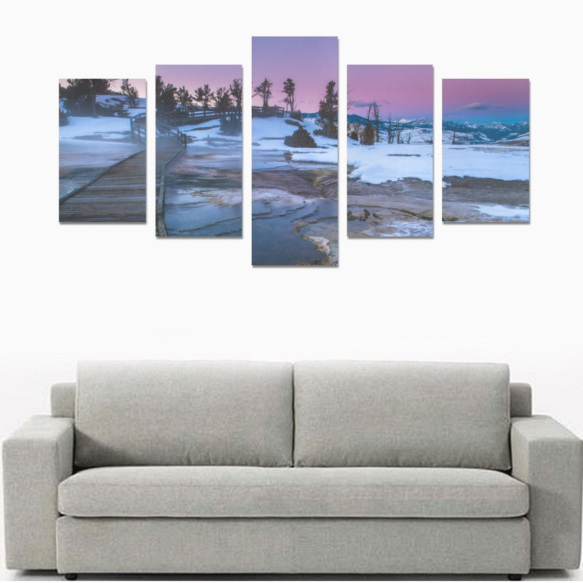 イエローストーン国立公園印刷5ピース壁アートペイントプリントキャンバスホーム装飾リビングルームキッチンの装飾( 12 x 20inch 2個、12 x 23inch 2個、12 x 31inch 1pc )   B0788RZ7X5