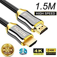 TERSELY 4K HDMI Cable, 1.5M/5FT 2.0a/b High Speed HDR Ultra Full HD 4K@60Hz 4:4:4 Resolution 4096 * 2160 Nylon Net Zinc Alloy Hood Gold Plated Connector for PS4|Xbox 360|Mac|HDTV| Projector|TV Box