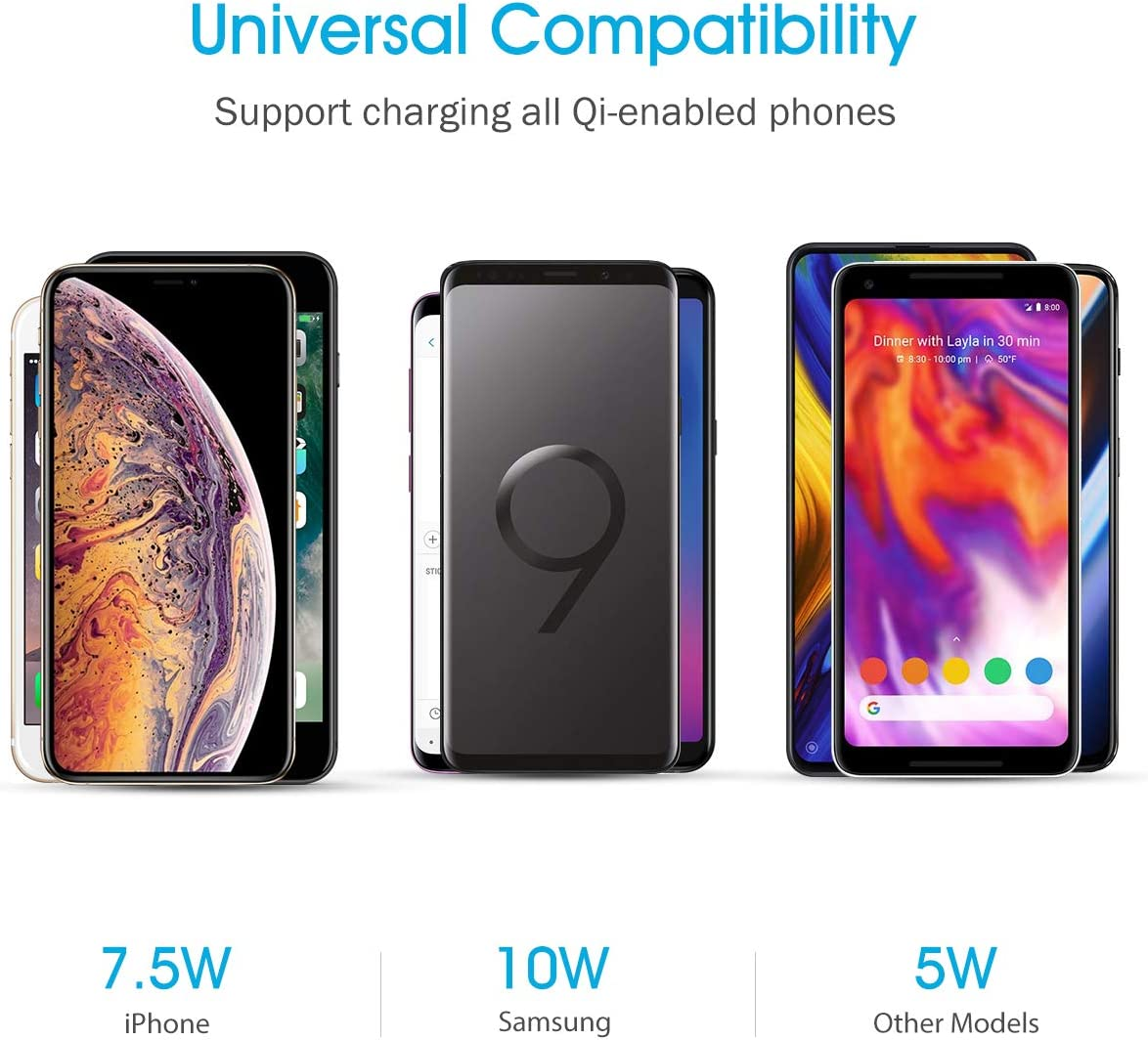 Wireless Charger 10W for Galaxy S10//S9 Seneo Qi Certified Wireless Charging Stand 7.5W Compatible iPhone 11//Pro Max//XS Max//XR//XS//X//8//Plus Note 10//Note 9 No AC Adapter