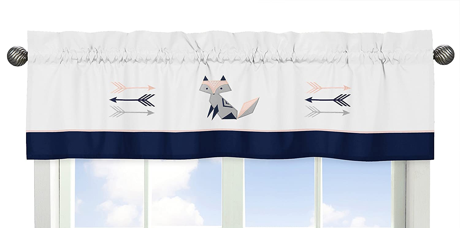 9 Pc. Navy Blue, Pink, und Grey Patchwork Woodland Fox und Arrow Baby Girl Crib Bedding Satz mit Bumper durch Sweet Jojo Designs