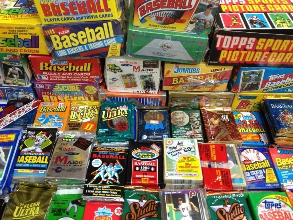 Amazon Com 300 Unopened Baseball Cards Collection In Factory Sealed Packs Of Mlb Baseball Cards From The Late 80 S And Early 90 S In A Brand New Superior Sports Investments Store Box Sports Collectibles