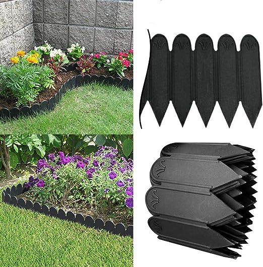 JIASHU Valla Decorativa para jardín, Borde de plástico pequeño y Flexible para Valla de jardín, Suministros para decoración de Plantas al Aire Libre, 3 Metros Negro: Amazon.es: Hogar