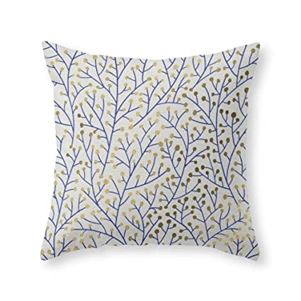 Amazoncom Funy Decor Berry Branches Navy Gold Throw Pillow