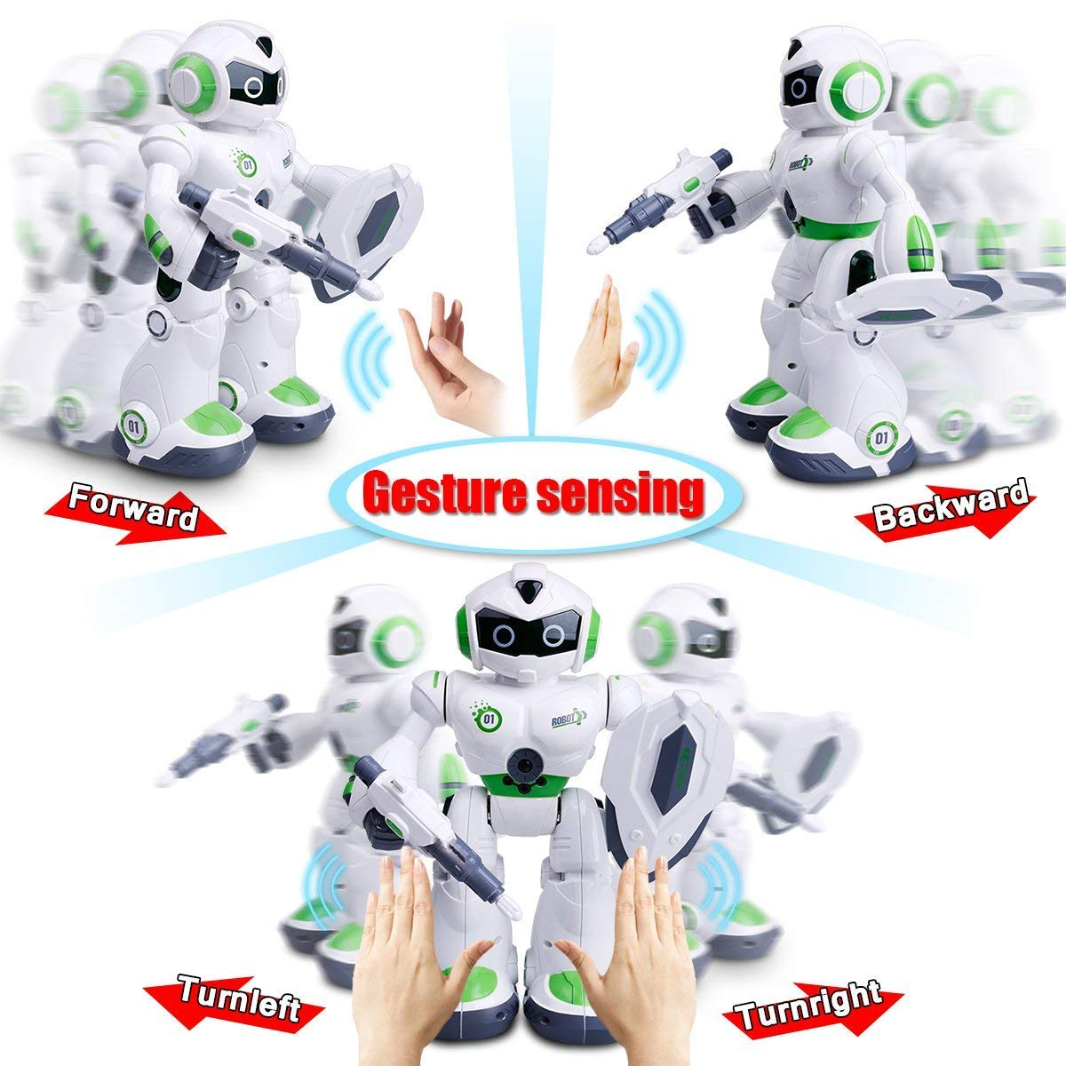 Remote Control Robot,Robot Toys,Smart Robotics for Kids with Gesture Sense, Interactive Walking Singing Dancing Speaking,with LED Light, Shoots Missiles, Talking, Walking, Singing, Educational Toys by Locke Teddy (Image #4)