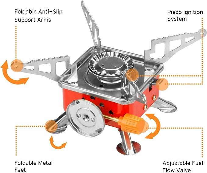 Camping estufa, jacksoo 2800 W plegable portátil al aire libre Camping Gear, quemador de gas estufa con encendido electrónico y negro caso para ...