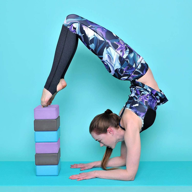 Yoga Blocks 2 Pack for Women Home Yoga Beginners Practices Class Studio Accessories,Pilates Meditation,High Density EVA Non-Slip Surface Soft and Light