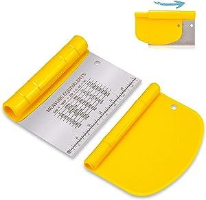 NanaHome Bench Scraper for Baking, Stainless Steel Dough Scraper/Cutter/Chopper and Flexible Plastic Bowl Scraper Set - Pastry, Pizza Cutter, Baking Tools with Measurement, 2 in 1 Kitchen Scraper
