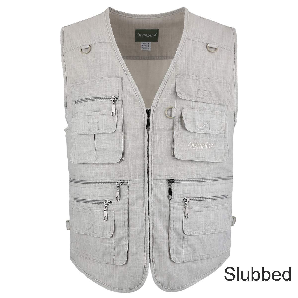 LUSI MADAM Men's Outdoors Travel Sports Pockets Vest (Beige Slubbed, US S/Asia XL)