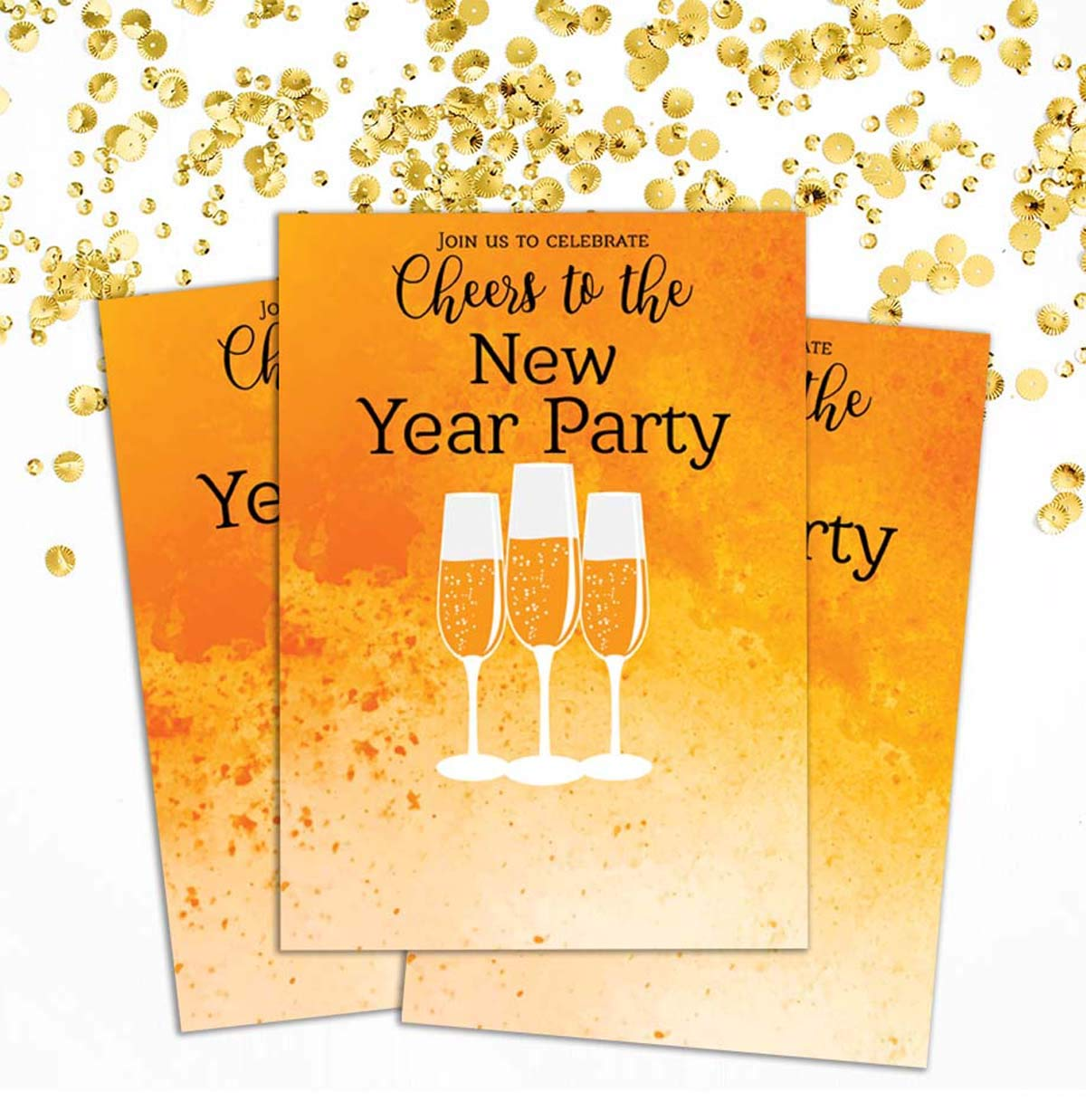 Amazon Com Darling Souvenir Orange New Year Invitation Card
