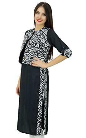 Bimba Women Black Straight Ladies Kurta With Printed Jacket Indian