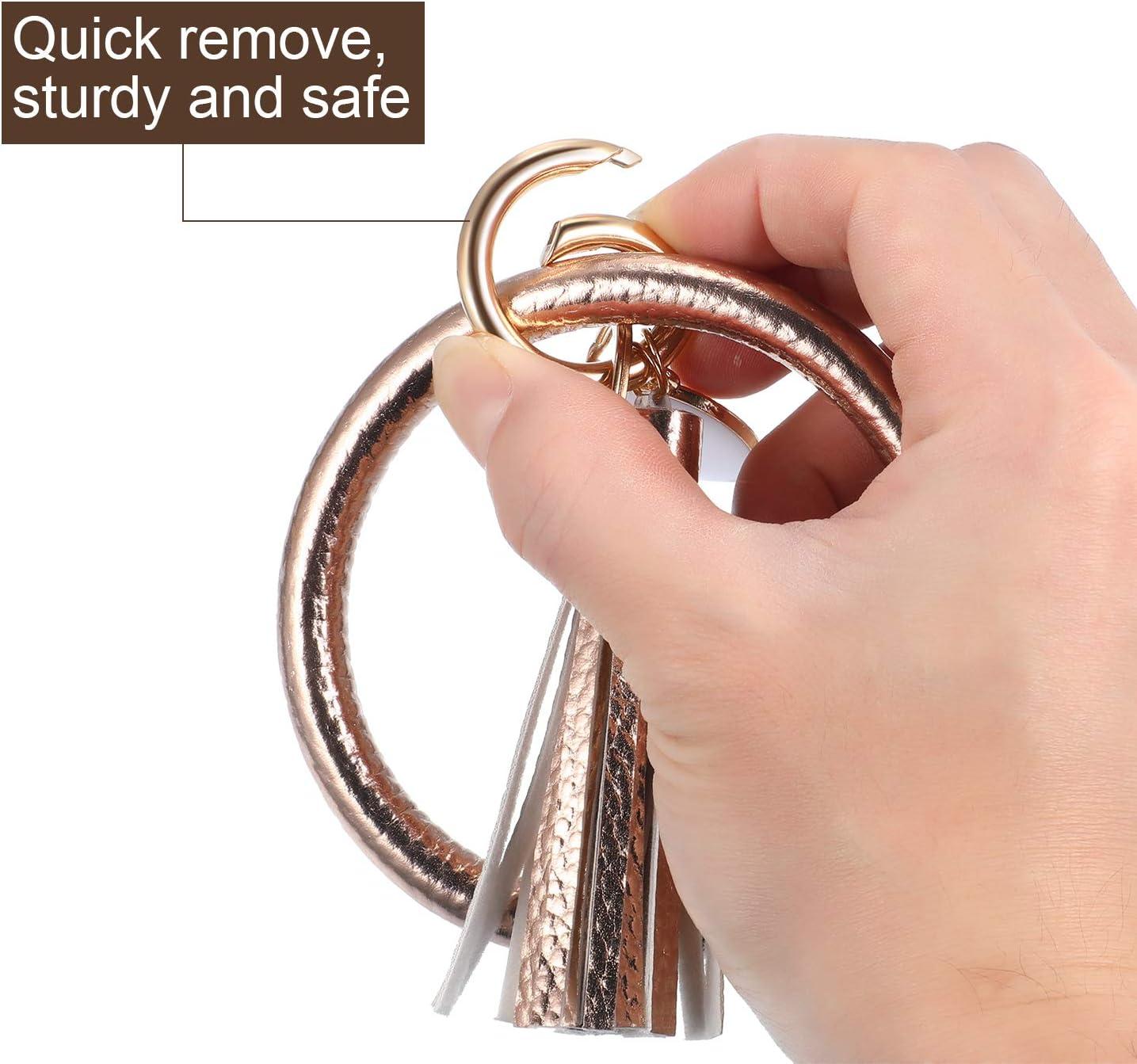 Bracelets Porte-Cl/és Wristlet Keychain Bracelet Keychain Bracelets Porte-Cl/és Ronds Bracelets Cercle avec Gland en Cuir pour Femmes Filles