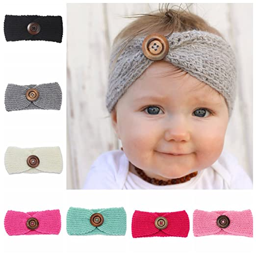 Amazon Cute Crochet Knitted Hairband Pattern With Buttons