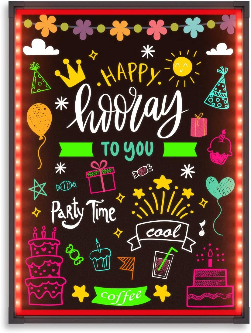 """Hosim LED Message Writing Board,32""""x24"""" Illuminated Erasable Neon Effect Restaurant Menu Sign with 8 colors Markers, 7 Colors Flashing Mode DIY Message Chalkboard for Kitchen Wedding Promotions (6080)"""