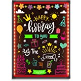 """LED Writing Message Board, 32"""" x 24"""" Luminated Erasable Neon Effect Restaurant Menu Sign with 8 Colors Markers, 7 Colors and Flashing Mode DIY Chalkboard for Kitchen Wedding Promotions by Hosim"""