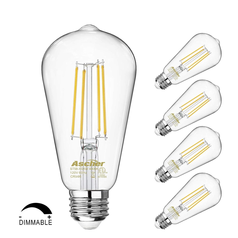 調光機能付きヴィンテージLEDエジソン電球 60ワット相当 目を保護するLED電球 95+ CRI デイライトホワイト 4000K ST58 アンティークLEDフィラメント電球 E26ミディアムベース 4個パック B07PPGCN9L