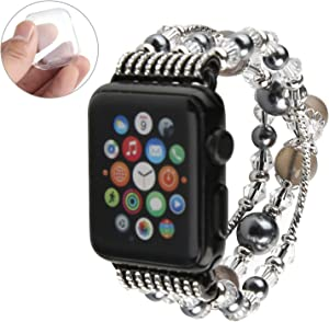GEMEK Compatible With Black Apple Watch Band 42mm 44mm Women Agate Pearl Bracelet Strap, Fashion Handmade Elastic Replacement for iWatch Bands Series 6/5/4/3/2/1 Girls Wristband (Gray 42mm)