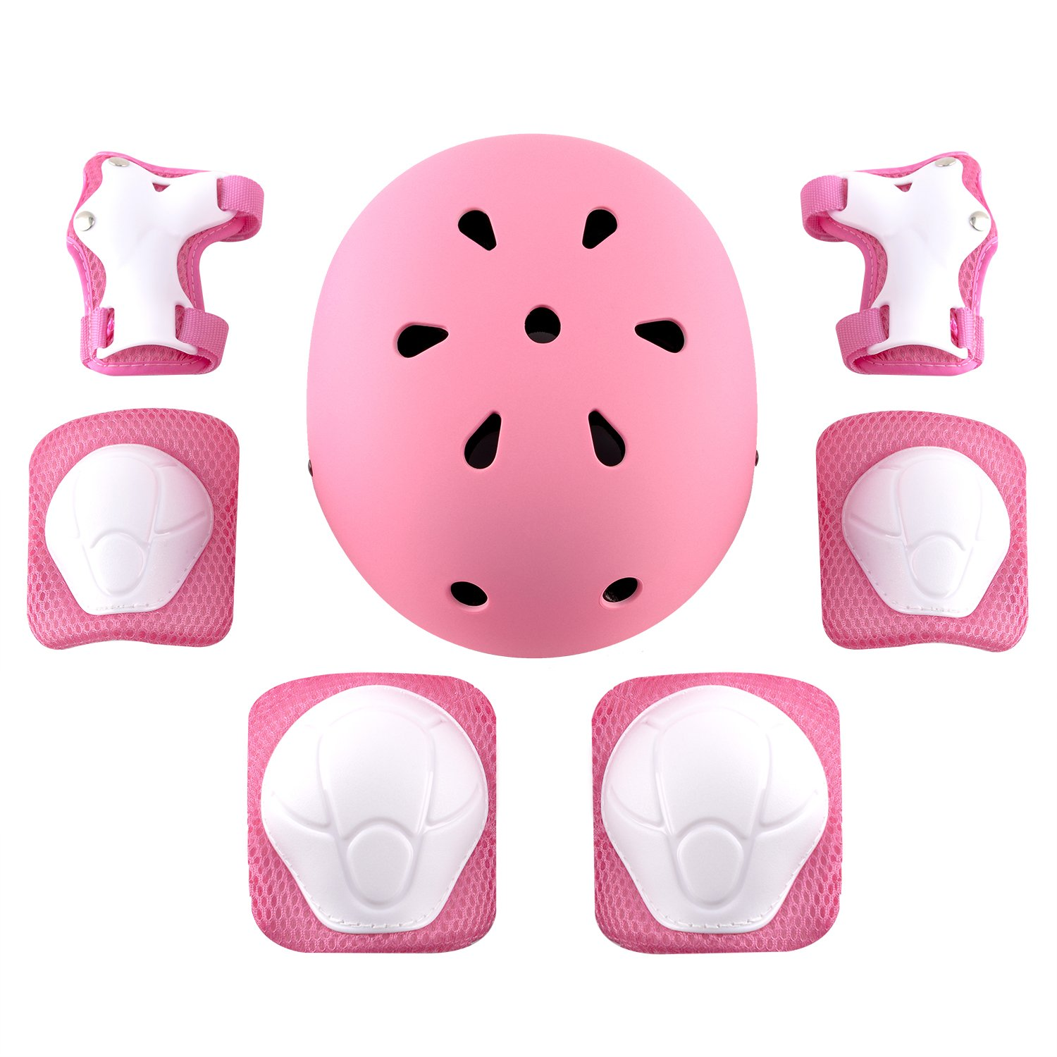 shuangjishan Child Multi-Sport Helmet With Knee Pads Elbow Wrist Protection Set for Skateboard Cycling Skate Scooter Pink by shuangjishan