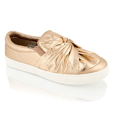baa93acf6a9c Womens Ladies Flat Slip On Bow Knot Pumps Sneakers Trainers Plimsole Shoes  Size (3