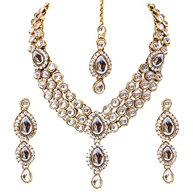 849e71e5e88316 Buy Shining Diva Fancy White Kundan Traditional Necklace Jewellery Set for  Women(88646s) Online at Low Prices in India   Amazon Jewellery Store -  Amazon.in
