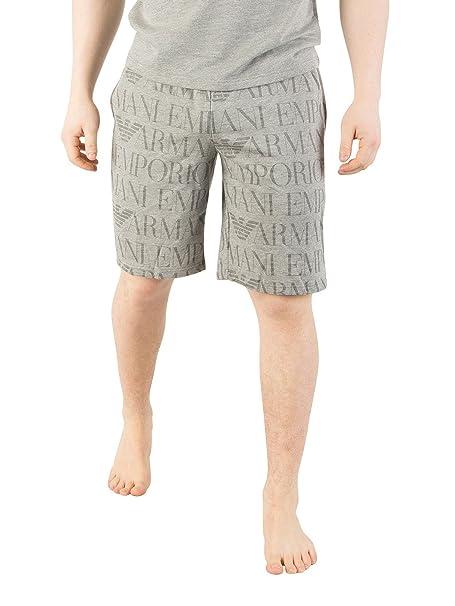 Emporio Armani Hombre Pantalones Cortos de Pijama Estampados, Gris, Large