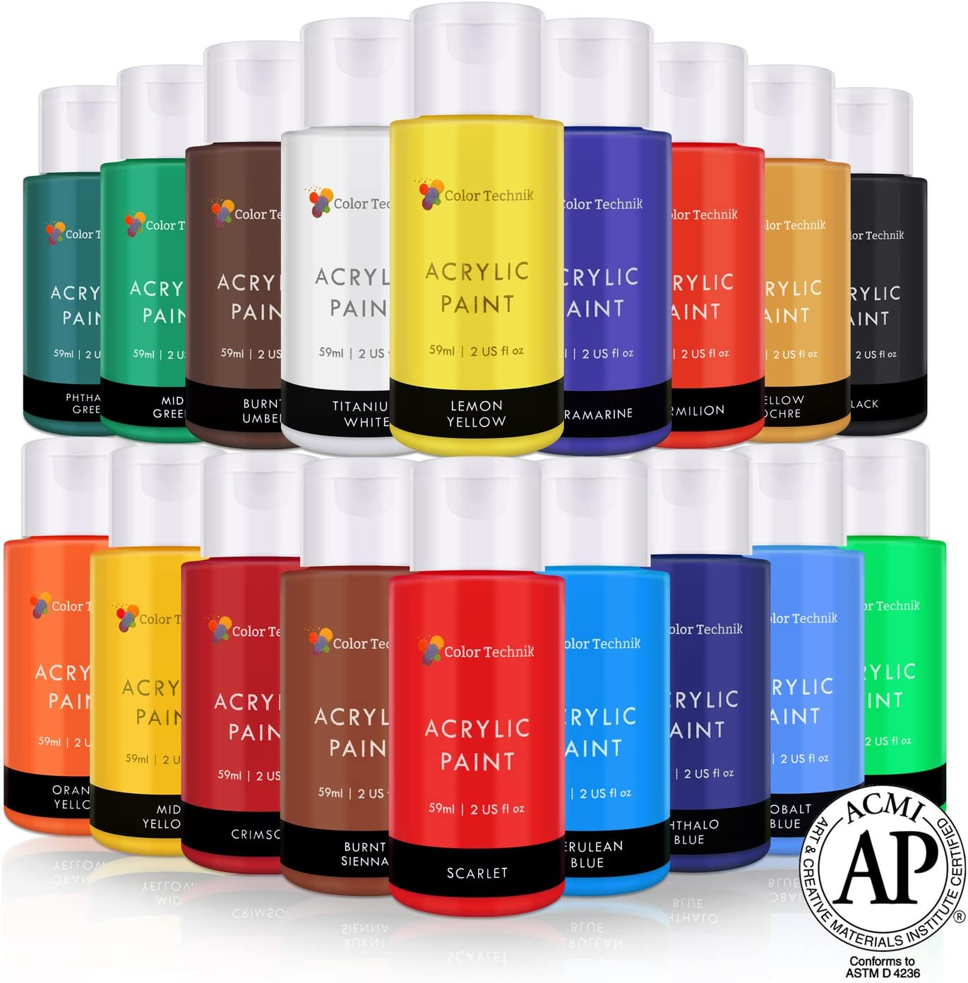 Acrylic Paint Set By Color Technik, Artist Quality, LARGE SET - 18x59ml (2-Ounce) Bottles, Best Colors For Painting Canvas, Wood, Clay, Fabric, Nail Art & Ceramic, Rich Pigments, Heavy Body, GIFT