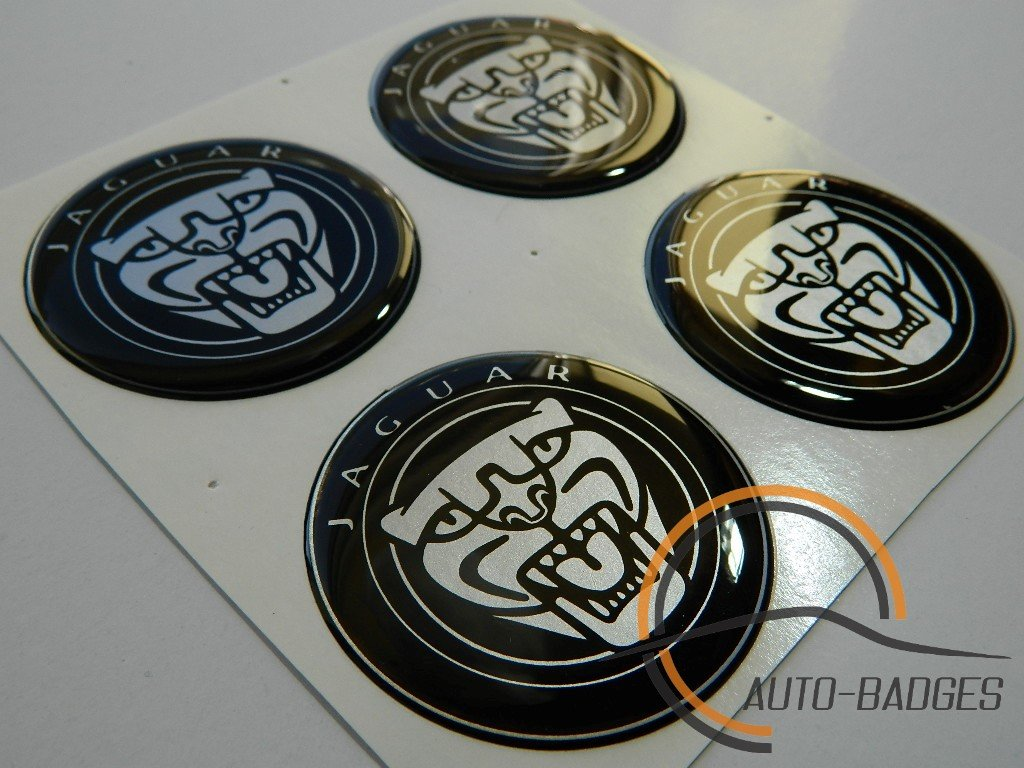 JAGUAR Set di 4 badge autoadesivo 55mm di plastica ad Applicare per coperture del mozzo auto-badges