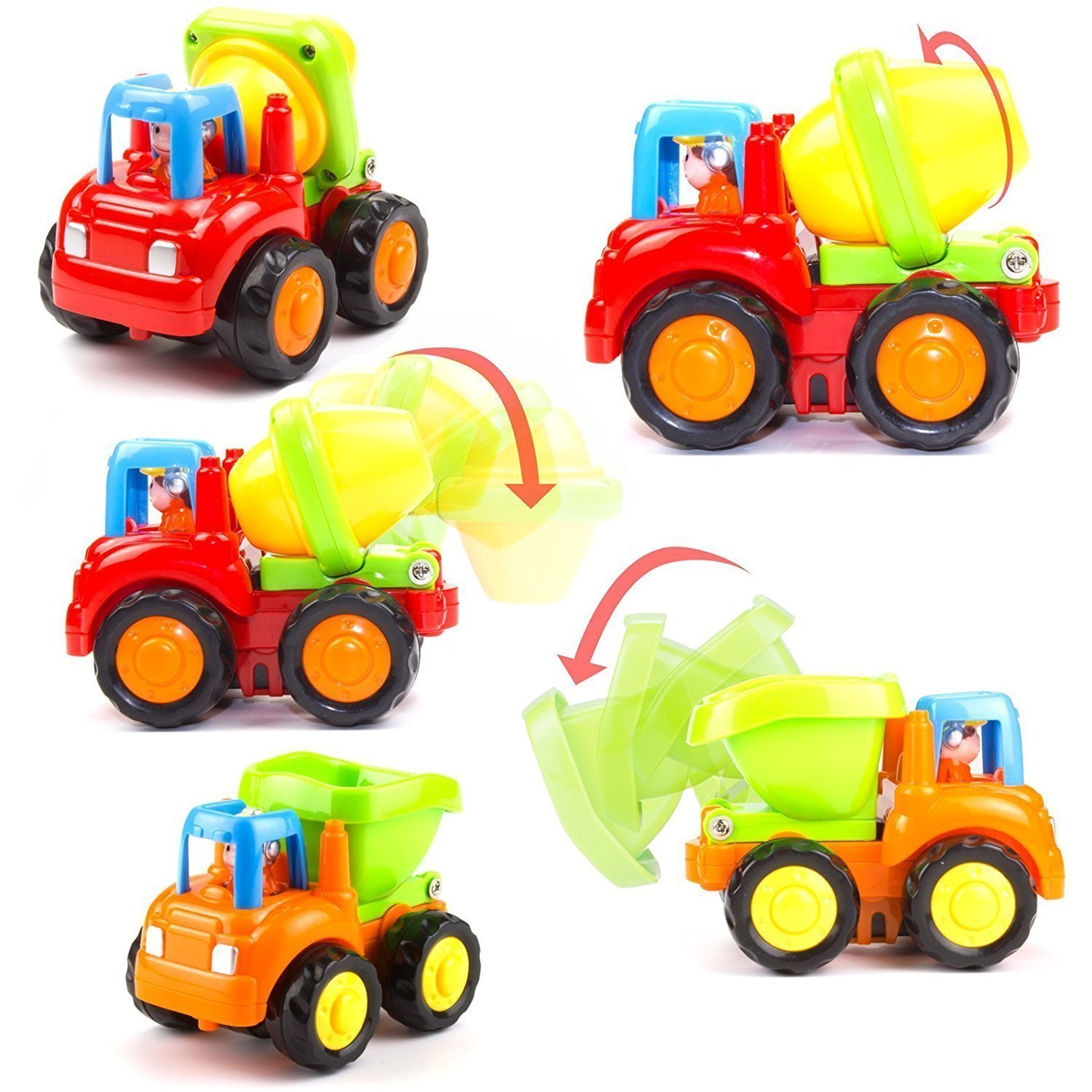 Wolson Push and Go Friction Powered Car Toys Engineering Vehicles Set Tractor Bulldozer Mixer Truck and Dumper for Baby Toddlers by Wolson (Image #5)