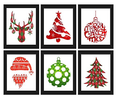 Amazon.com: Christmas Art Prints Set Of 6 8x10 Prints - Unframed -  Beautiful Green Red Moose Ornaments Tree Santa Hat Beard Holiday Room Wall  Decor Decoration Interior Design: Handmade