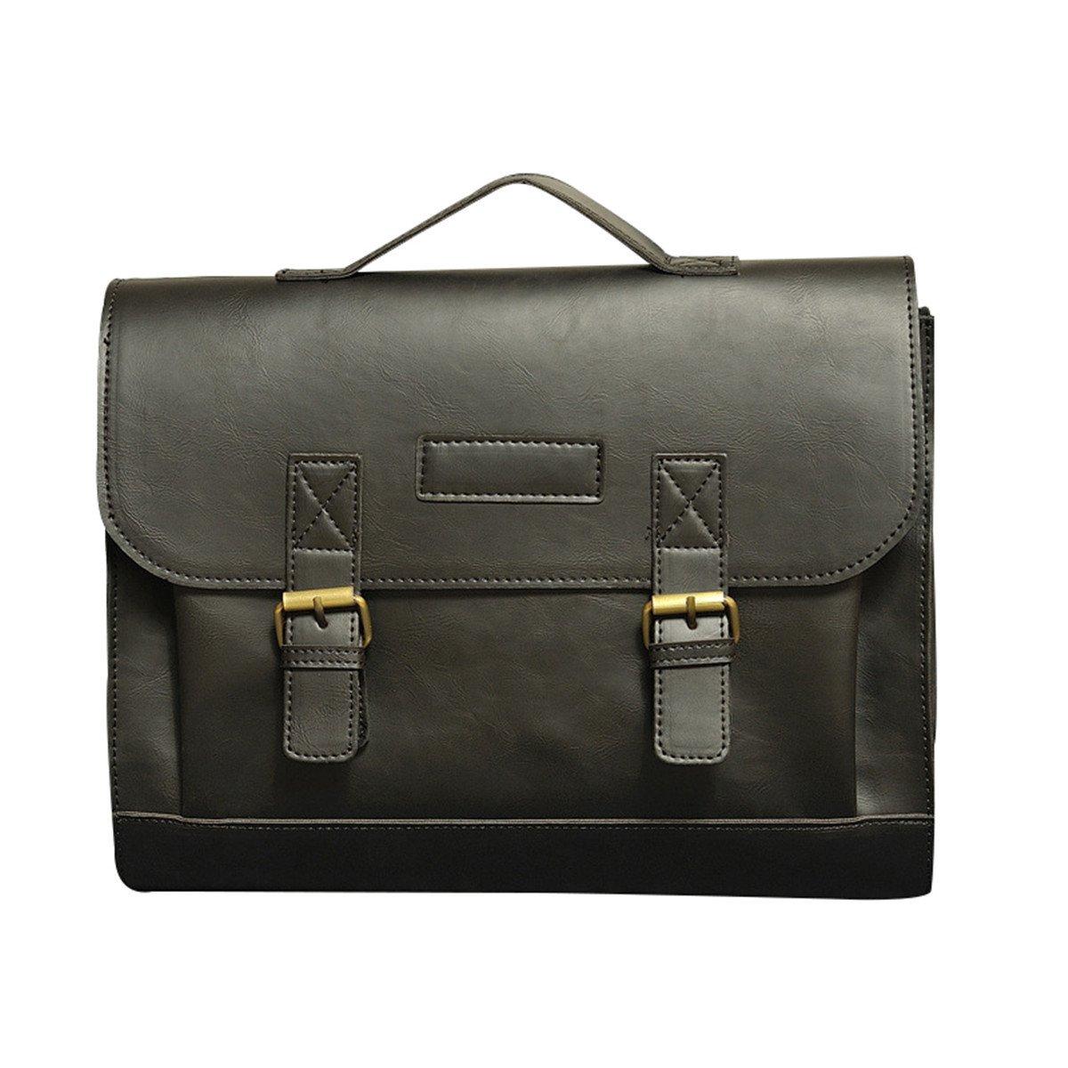 Quanjie Herren Vintage Umhängetasche Laptoptasche große Größe 15, 6 Zoll Laptop Aktentasche Wasserdichte Messenger Bag (Braun)