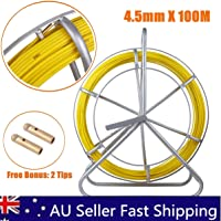 Fish Tape Fiberglass 4.5mm x 100M NBN Fiberglass Cable Snake Electricians Duct Rodder Puller T0252 Continuous Fiberglass Wire Cable Running with Cage and Wheel Stand