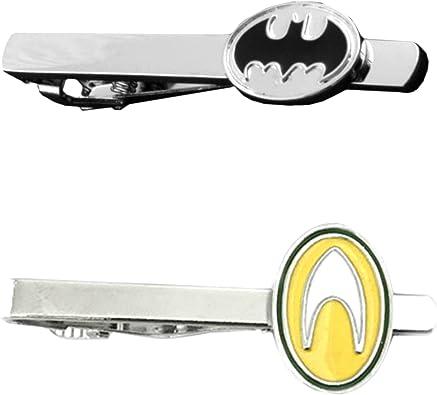Outlander DC Comics – Juego de 2 broches para corbata, diseño de Batman & Aquaman con el logo de Superhéroe de boda, con caja de regalo: Amazon.es: Joyería
