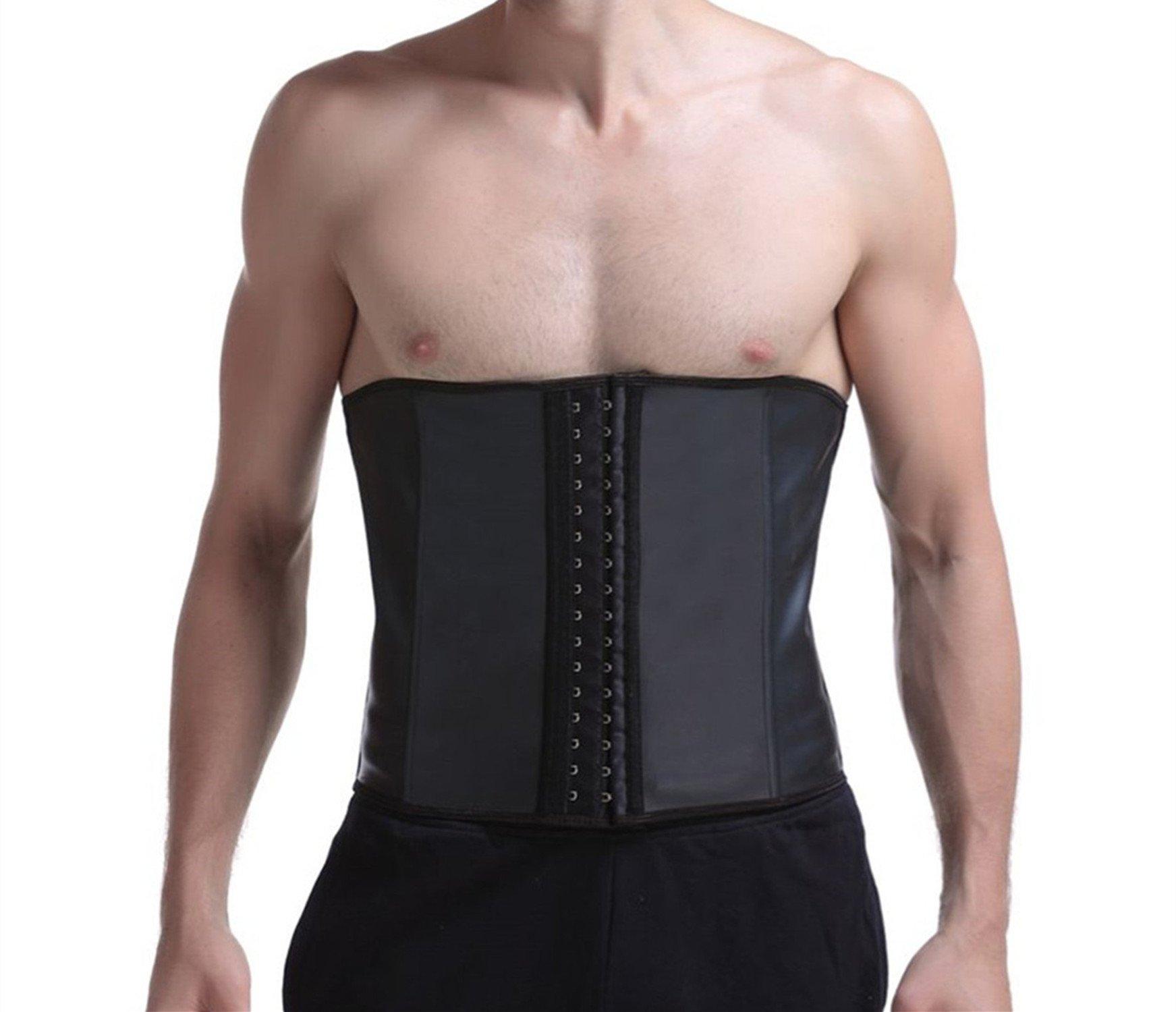 Imurz Men's Tummy Control Steel Boned Waist Trainer Workout Sport Shapewear Black S