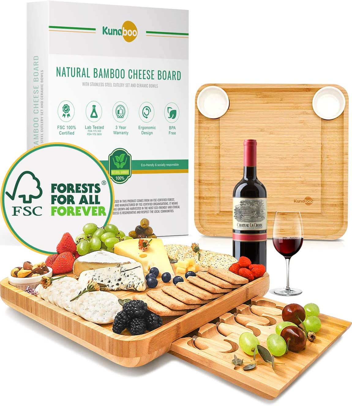 Kunaboo Bamboo cheese board and knife set - Charcuterie tray with cutlery set - FSC certified - Best for wine and cheese board parties, wedding, housewarming gift, cheeseboard and knife set