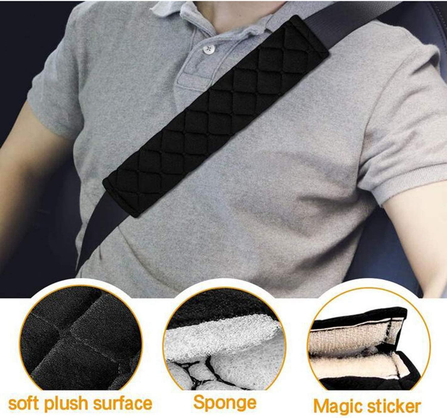 Grey 2 Pack Car Seat belt Comfort Pads Car Seat Belt Pads Safety Belt Strap Luggage Shoulder Pad for Adults and Children Seat Belt Comfort Harness Pads Travel Cushion Seat Belt Covers