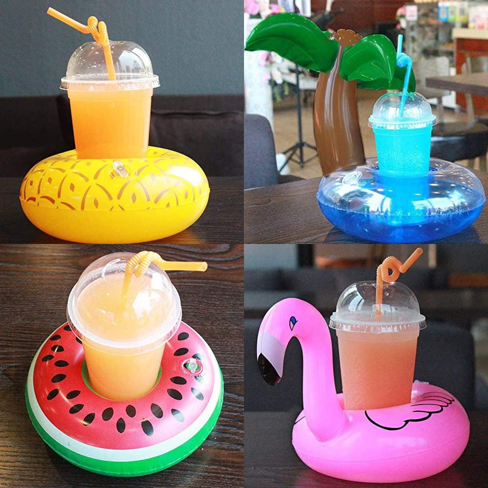 SIENON Inflatable Drink Floats 14 Pack Inflatable Drink Holders Cup Coasters with 1 Air Pump Swimming Drink Holder for Summer Pool Party and Kids Bath Toys