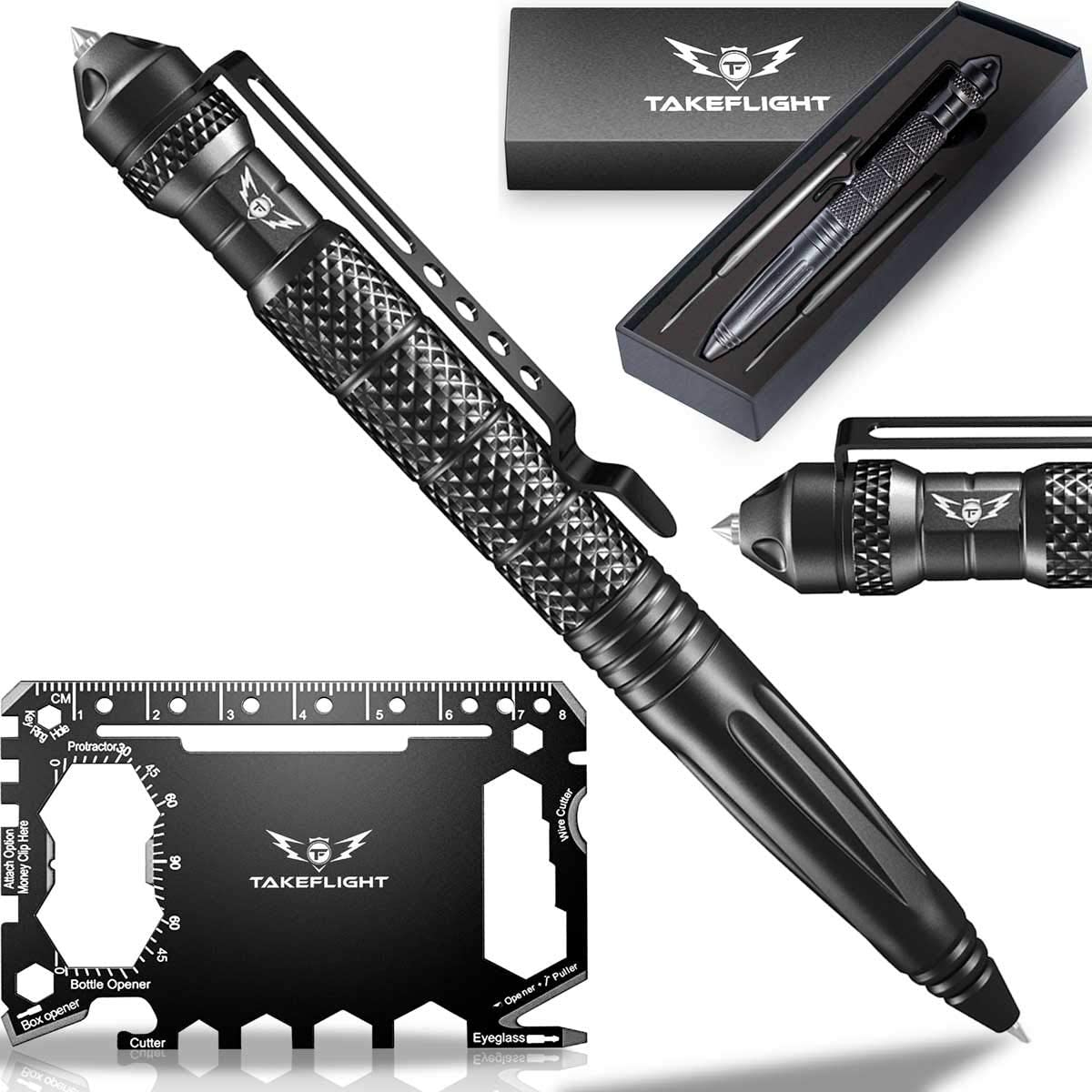 Tactical Pen Self Defense Tool Survival Multitool Window Glass Breaker For Police Military Swat Edc Smooth Writing Black Ballpoint Gift Boxed With Extra Refills Black Card Amazon Com