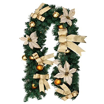 hootech christmas garland decorations indoors outdoor 6 feet artificial wreath with berries and pinecones xmas decorations - Amazon Christmas Decorations Indoor
