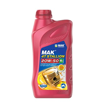 MAK Lubricants 4T Stallion API SL 20W-50 Engine Oil for Bikes (1 L)