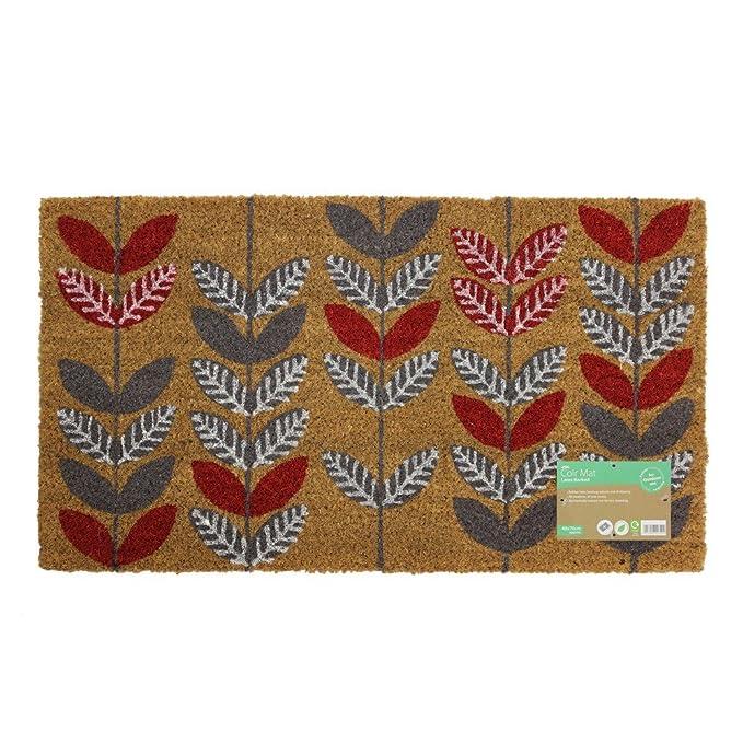 JVL - diseño de jardinería con Natural diseño de Puerta de Entrada Mat-Leaves, 40 x 70 cm, Fibra de Coco y látex, marrón, 40 x 70 x 1,5 cm: Amazon.es: Hogar