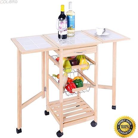 Lovely COLIBROX  Portable Rolling Wood Kitchen Trolley Cart Drop Leaf Storage  Drawers Rack Basket,