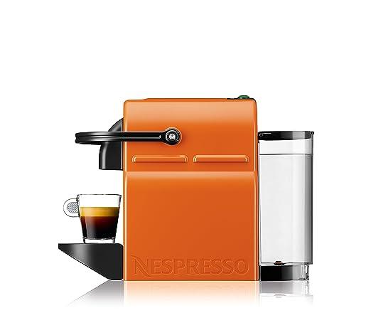 Nespresso Inissia CAFETERA CAPSULA DELONGHI EN80.O AUTOMATICA Flow Stop, 1260 W, 0.8 litros, Acero Inoxidable, Naranja