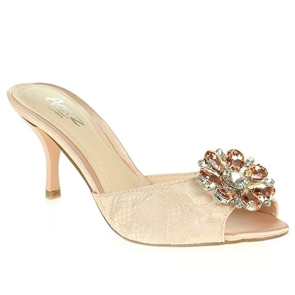AARZ LONDON Frau Damen Abend Hochzeit Party Peep Toe Diamant Niedrige Keilabsatz Sandalen Schwarz Schuhe Größe 39 rdERTkxl