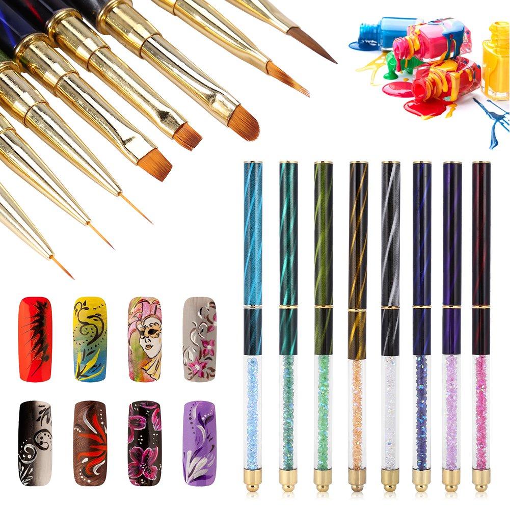 8 x Pinceles para Uñas Nail Art Pinceles UV Gel Liner Pintura gradientes Pincel Lápiz Nail Art Set Manicura Herramientas acrílico lápices Brush Kits con Cat ojos brillantes Mango Brino